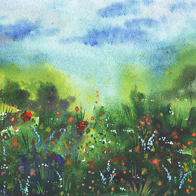 Impressionist Landscapes - Blue Red Orange White Flowers Field  by Irina Sztukowski