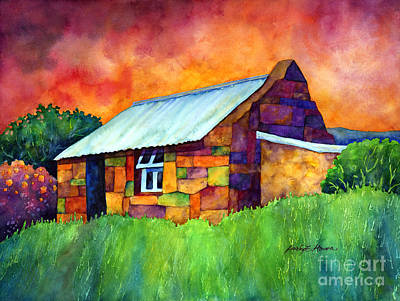 Painting Rights Managed Images - Blue Roof Cottage Royalty-Free Image by Hailey E Herrera
