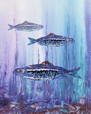Royalty-Free and Rights-Managed Images - Blue School Of Fish Watercolor  by Irina Sztukowski