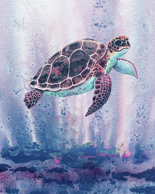 Fine Dining - Blue Sea Giant Turtle Watercolor  by Irina Sztukowski