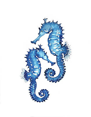 Royalty-Free and Rights-Managed Images - Blue Seahorses by Luisa Millicent