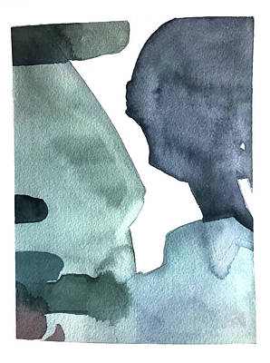 Target Threshold Watercolor - Blue Shapes by Luisa Millicent