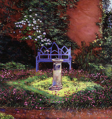 Water Droplets Sharon Johnstone - BLUE SUNBENCH and SUNDIAL by David Lloyd Glover