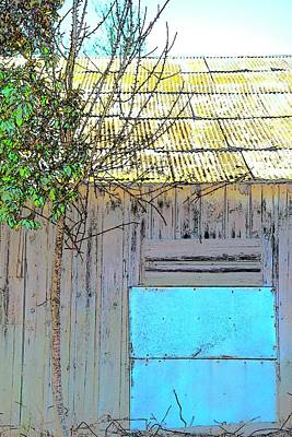 Jerry Sodorff Royalty-Free and Rights-Managed Images - Blue Tin Tree Metal Roof by Jerry Sodorff
