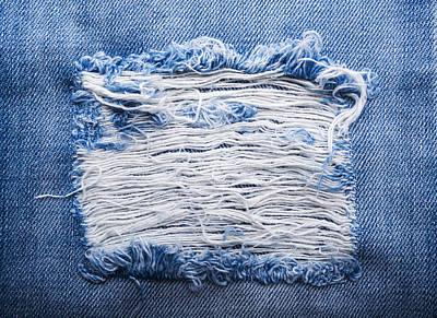 School Teaching - Blue torn denim jeans texture by Julien