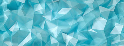 Royalty-Free and Rights-Managed Images - Blue, turquoise background with crystals, triangles. vintage illustration, 3d rendering.  by Julien
