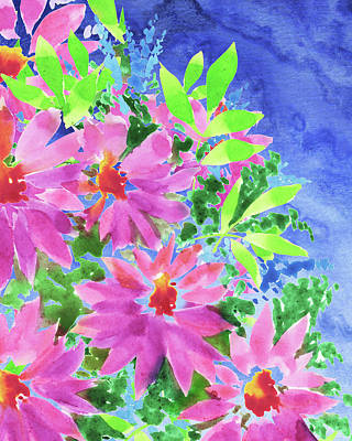 Royalty-Free and Rights-Managed Images - Blue Watercolor Sky In The Pink Flowers Garden  by Irina Sztukowski