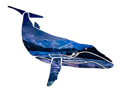 Mixed Media Royalty Free Images - Blue Whale Silhouette1 Royalty-Free Image by Eileen Backman