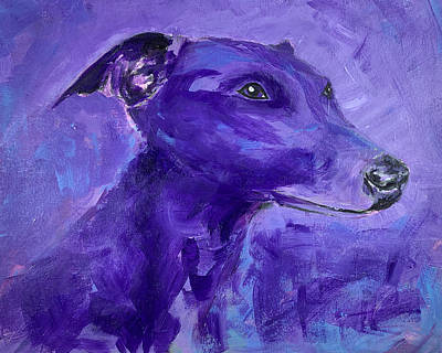 Painting - Blue Whippet Turned Purple by Kate Benzin