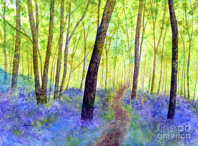 Royalty-Free and Rights-Managed Images - Bluebell Wood-pastel colors by Hailey E Herrera