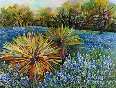 Rights Managed Images - Bluebonnets and Yucca Royalty-Free Image by Hailey E Herrera