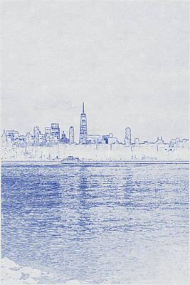 Vintage Movie Stars - Blueprint drawing of Chicago, Cityscape of contemporary urban city under picturesque sunset sky by Celestial Images