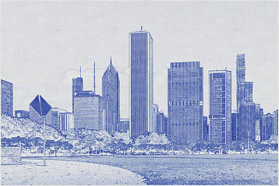 Vintage Movie Stars - Blueprint drawing of Chicago Skyline by Celestial Images