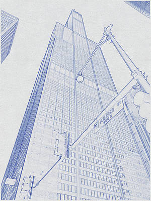 Vintage Movie Stars - Blueprint drawing of Chicago Skyline, Illinois, USA - 36 by Celestial Images