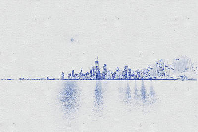 Vintage Movie Stars - Blueprint drawing of Chicago Skyline, Illinois, USA - 38 by Celestial Images