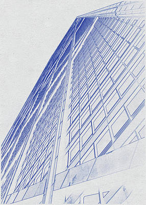 Vintage Movie Stars - Blueprint drawing of Chicago Skyline, Illinois, USA - 39 by Celestial Images