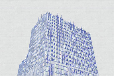 Vintage Movie Stars - Blueprint drawing of Chicago Skyline, Illinois, USA - 41 by Celestial Images