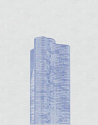 Vintage Movie Stars - Blueprint drawing of Chicago Skyline, Illinois, USA - 47 by Celestial Images