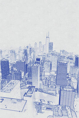 Vintage Movie Stars - Blueprint drawing of Chicago Skyline, Illinois, USA - 48 by Celestial Images