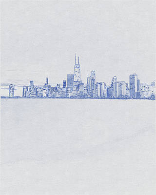 Vintage Movie Stars - Blueprint drawing of Chicago, United States 2 by Celestial Images