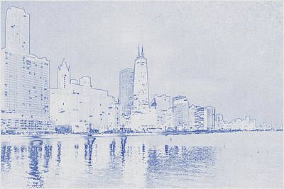 Vintage Movie Stars - Blueprint drawing of Chicago, United States 4 by Celestial Images