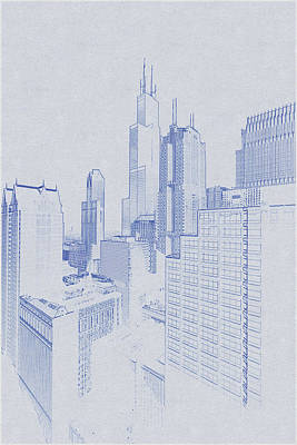 Vintage Movie Stars - Blueprint drawing of Chicago, United States 5 by Celestial Images