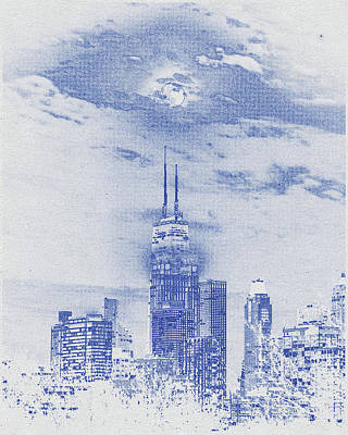 Vintage Movie Stars - Blueprint drawing of Chicago, United States 6 by Celestial Images