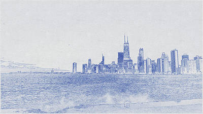 Vintage Movie Stars - Blueprint drawing of Chicago, United States 7 by Celestial Images