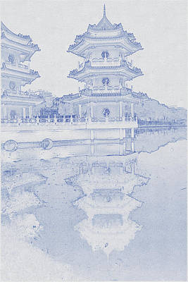 Vintage Movie Stars - Blueprint drawing of Chinese Garden in Singapore by Celestial Images