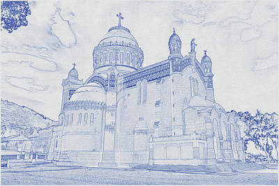 Vintage Movie Stars - Blueprint drawing of Church in Algeria by Celestial Images