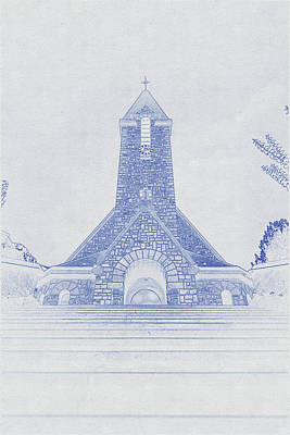 Vintage Movie Stars - Blueprint drawing of Church in Paris by Celestial Images