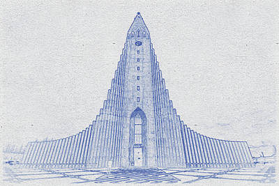 Vintage Movie Stars - Blueprint drawing of Church of Hallgrimur, Iceland by Celestial Images