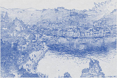 Vintage Movie Stars - Blueprint drawing of Cinque Terre 2 by Celestial Images