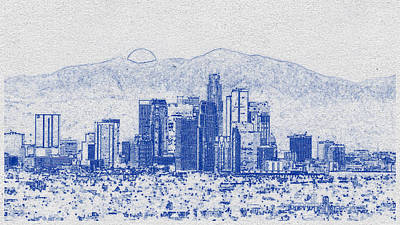 Pasta Al Dente - Blueprint drawing of Cityscape 21 by Celestial Images