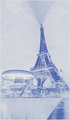 Bath Time - Blueprint drawing of Eiffel tower, Paris, France 2  by Celestial Images