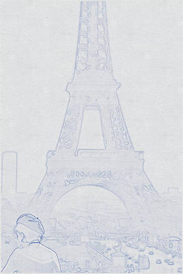 Bath Time - Blueprint drawing of Eiffel Tower, Paris, France_0002 by Celestial Images