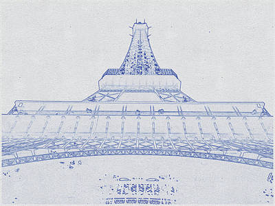 Bath Time - Blueprint drawing of Eiffel Tower, Paris, France_1 by Celestial Images