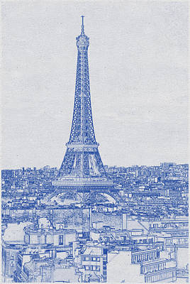 Bath Time - Blueprint drawing of Eiffel Tower, Paris_0003 by Celestial Images