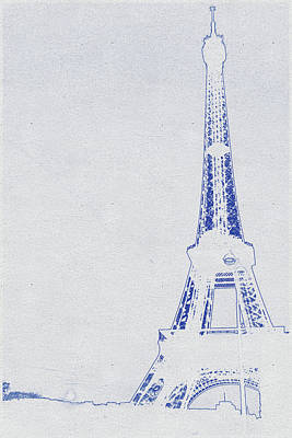 Bath Time - Blueprint drawing of Eiffel Tower, Paris_0004 by Celestial Images