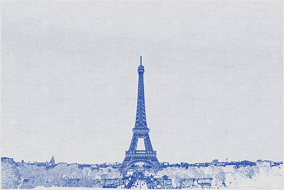 Bath Time - Blueprint drawing of Eiffel Tower, Paris_0005 by Celestial Images