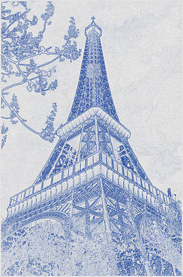 Bath Time - Blueprint drawing of Eiffel Tower, Paris_0006 by Celestial Images