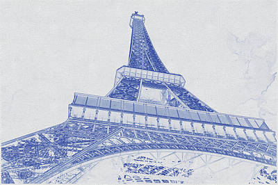 Bath Time - Blueprint drawing of Eiffel Tower, Paris_0007 by Celestial Images