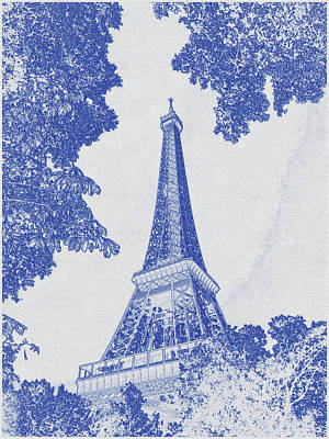 Bath Time - Blueprint drawing of Eiffel Tower, Paris_0010 by Celestial Images