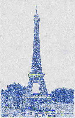 Bath Time - Blueprint drawing of Eiffel Tower, Paris_0011 by Celestial Images