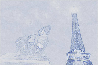 Bath Time - Blueprint drawing of Eiffel Tower, Paris_0013 by Celestial Images