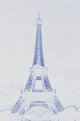 Bath Time - Blueprint drawing of Eiffel Tower_0001 by Celestial Images