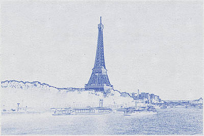 Bath Time - Blueprint drawing of Eiffel Tower_0002 by Celestial Images