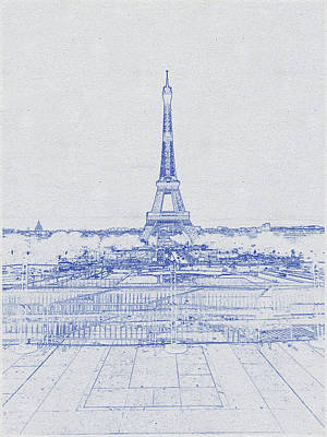 Bath Time - Blueprint drawing of Eiffel Tower_0007 by Celestial Images