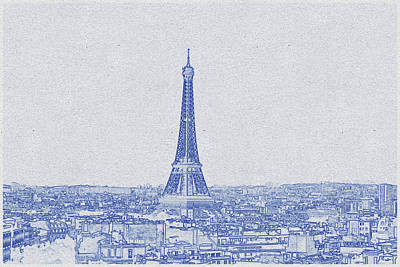Bath Time - Blueprint drawing of Eiffel Tower_0008 by Celestial Images