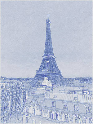 Bath Time - Blueprint drawing of Eiffel Tower_0011 by Celestial Images